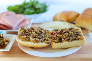 Olive Bruschetta spread on bread for muffuletta recipe