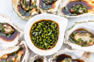 Steamed Oysters with Sesame Soy Sauce