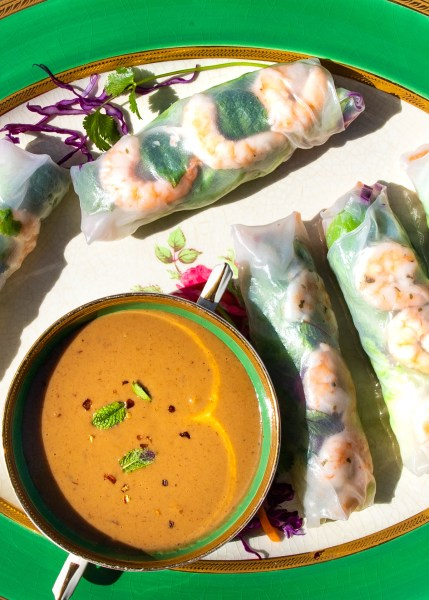 Platters of salad rolls with peanut dipping sauce for a party