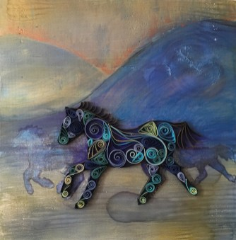 """Running Through The Mist #1 12""""x12"""" Quilled Paper and Paint on Wood"""