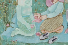"""""""Serving Tea To My Double"""" (Detail); 11x14"""", acrylic on hardboard, 2016"""