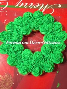 couronne de cupcakes pour noel