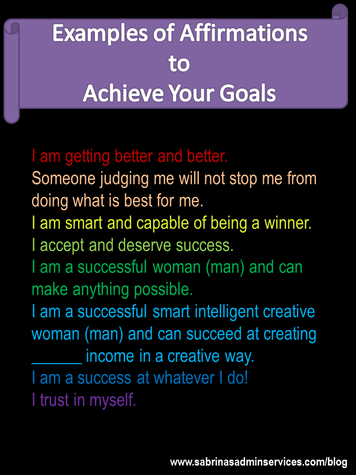 Examples of affirmations to achieve your goals