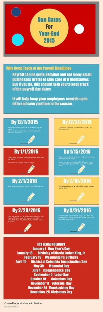 payroll due dates for year-end 2015