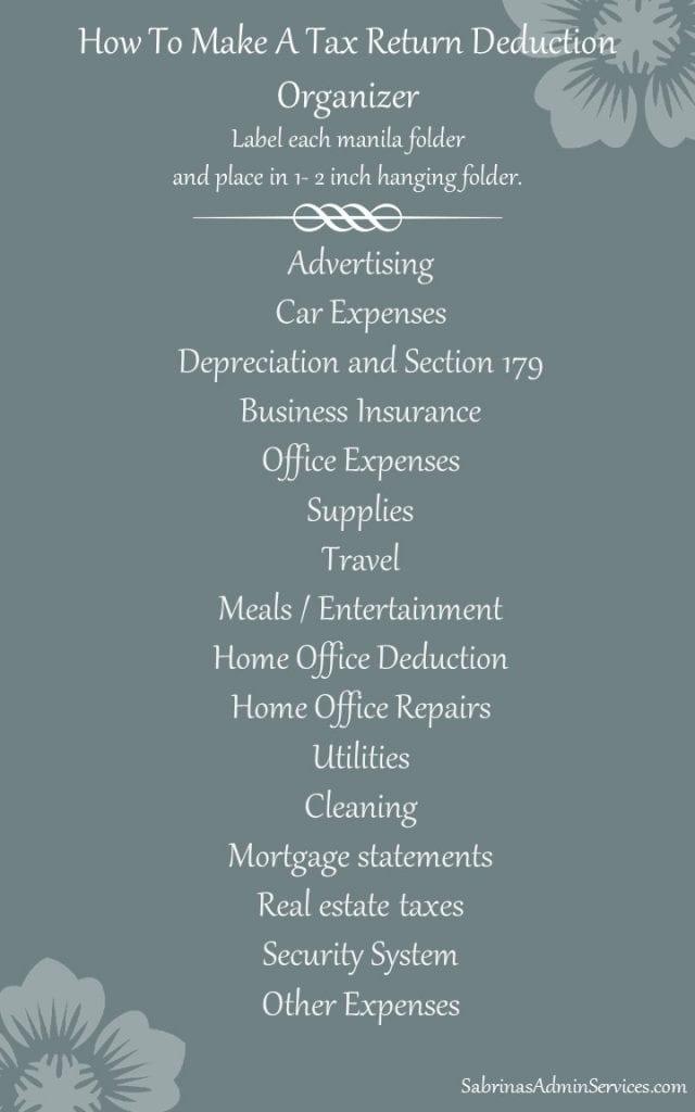 tax return deductions paper organizer