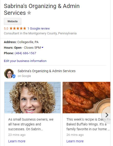 Sample business section in Google