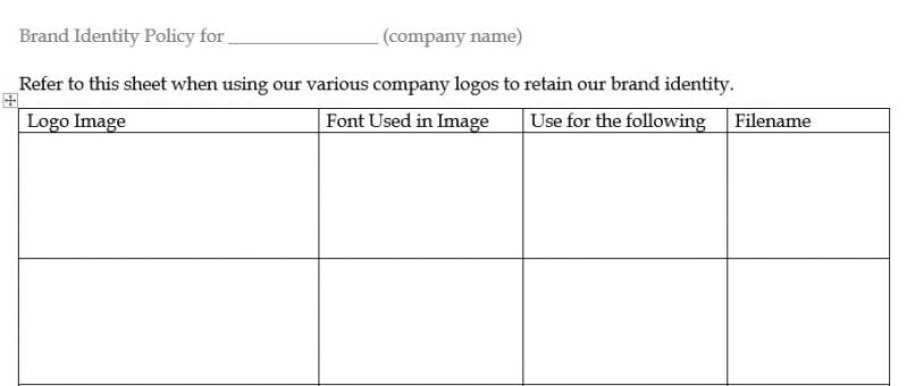 Brand Identity Policy Layout Example
