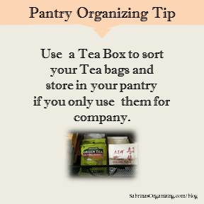 Use a Tea Box to sort your Tea bags and store in your pantry if you only use them for company.