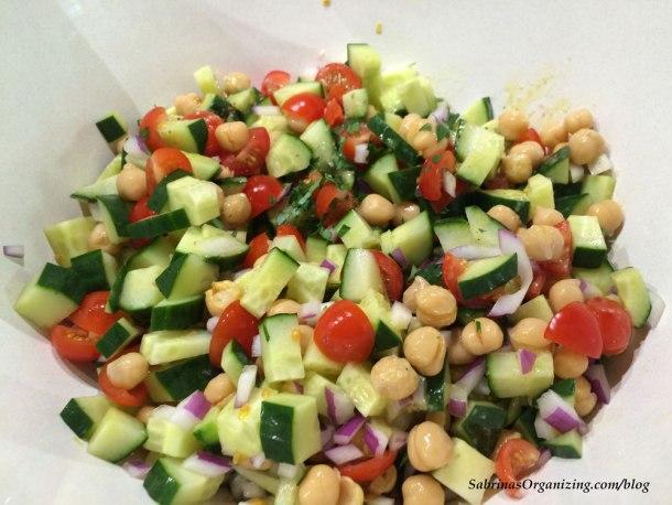 Cucumber Tomato Chickpea Feta Salad