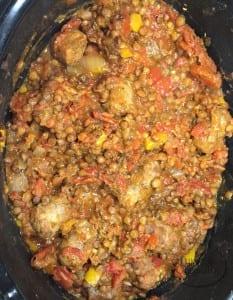 slow cooked sausage lentil stew | Sabrina's Organizing