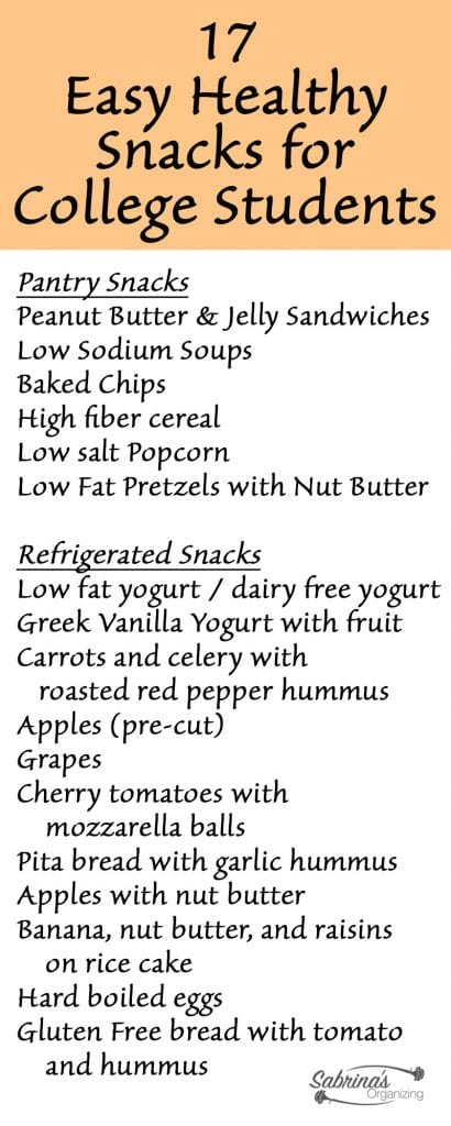 17 Easy Healthy Snacks for College Students Dorm Life