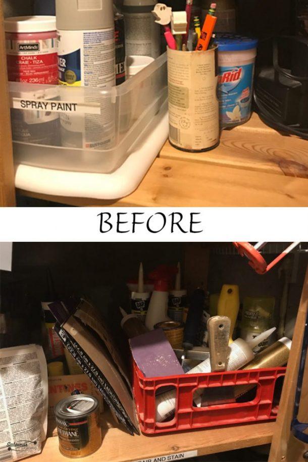 before DIY spray bottle organizer