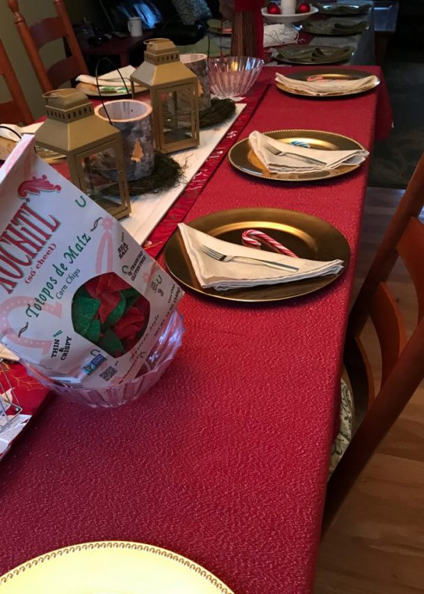 Table setting for Taco holiday party