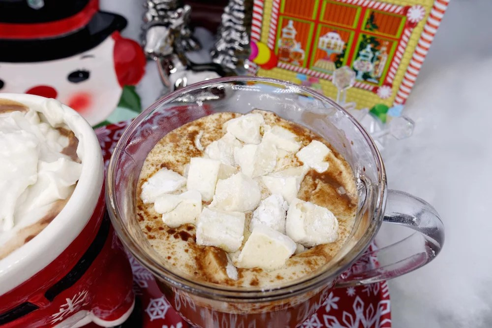 A close view of Paleo hot chocolate with homemade Paleo marshmallows on top