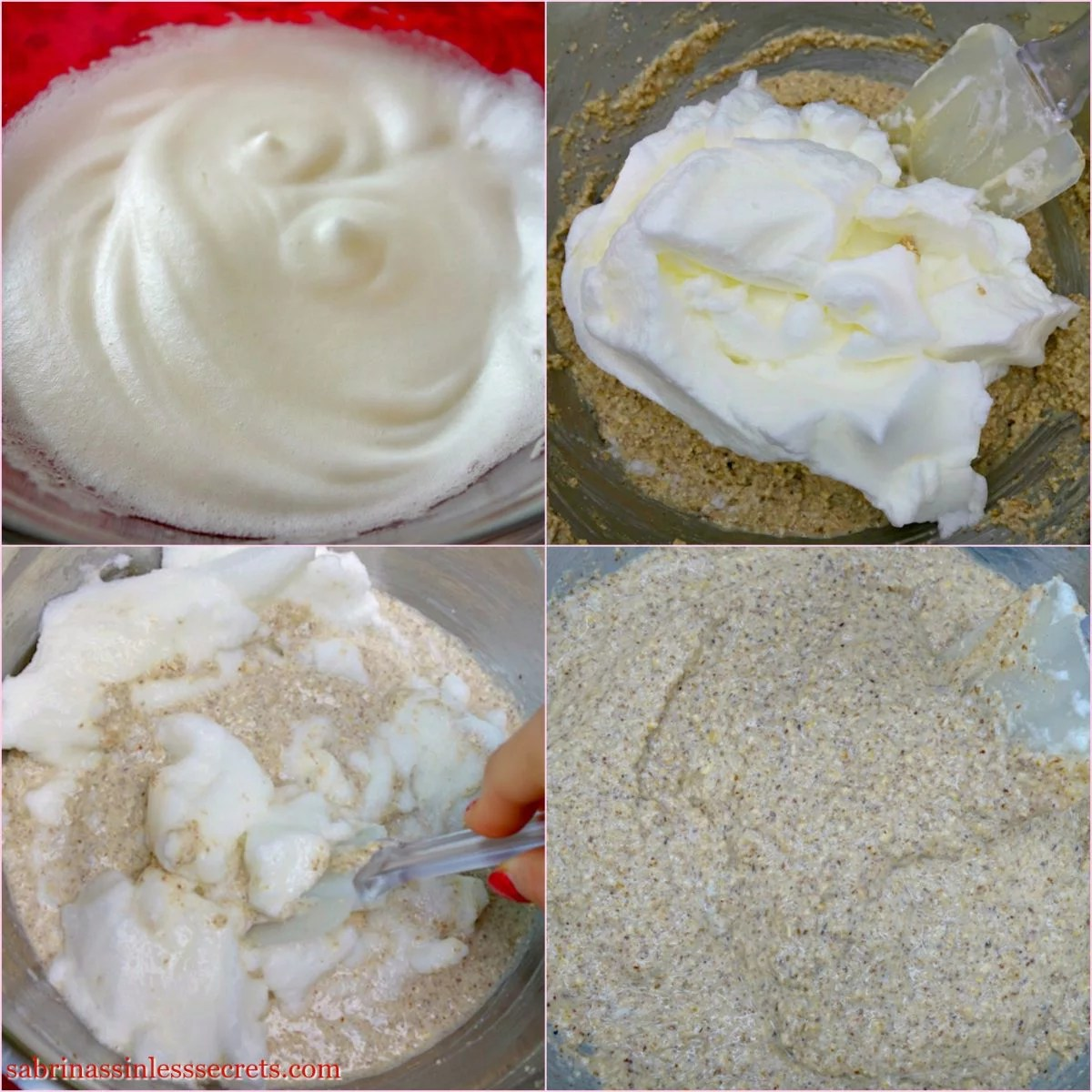 Whipped egg whites in a bowl being made and folded into homemade gluten-free greek yogurt oat pancake batter