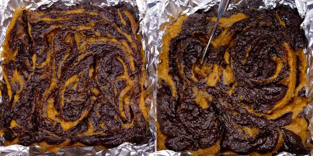 "A two picture collage of homemade fudgy Paleo pumpkin fudge brownie batter in a foil-lined 8x8"" dish being swirled by a butter knife"