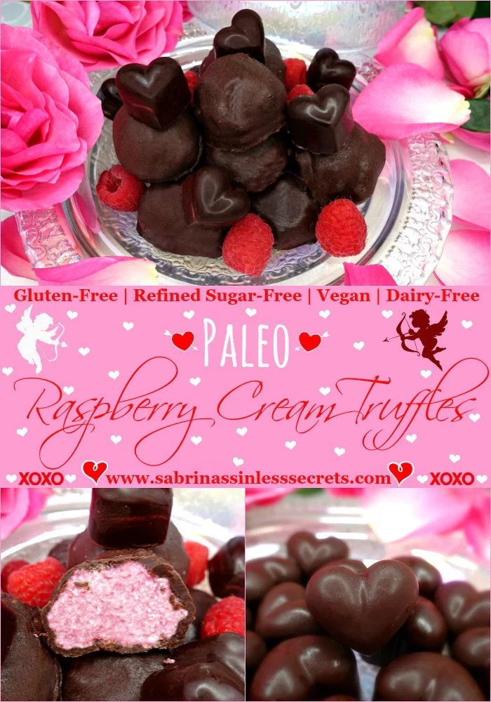 Homemade dark chocolate raspberry cream truffles