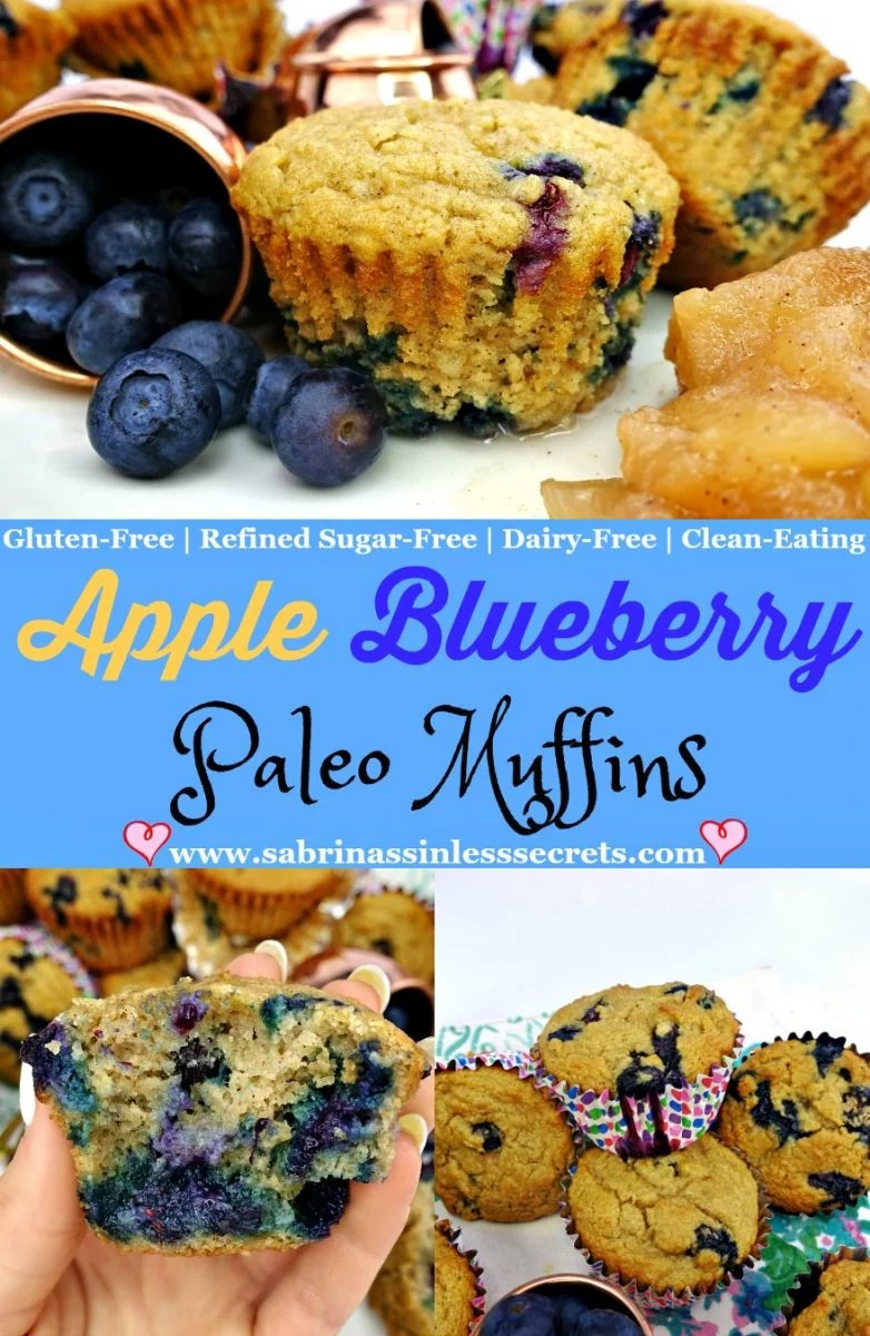 Apple Blueberry Paleo Muffins that are also diary-free, grain-free, refined sugar-free, gluten-free, and clean-eating muffins