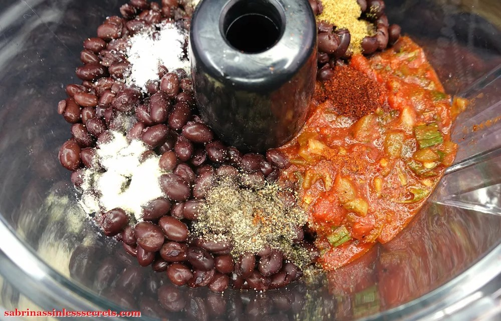 Rinsed and drained black beans, salsa, and spices in a food processor