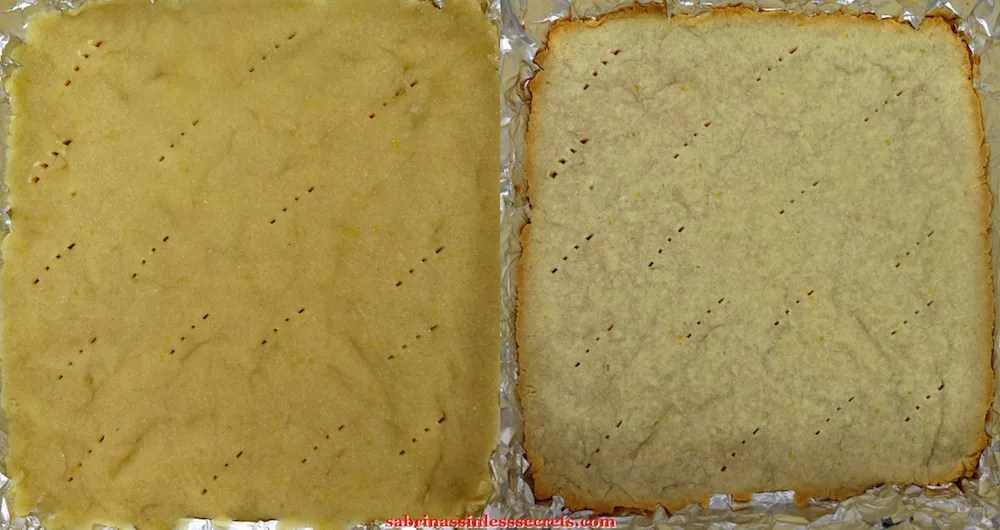 "The pre-baked crust for Paleo Lemon Bars with a Shortbread Crust and the partial baked version in a 8""x8"" aluminum foil lined baking dish"