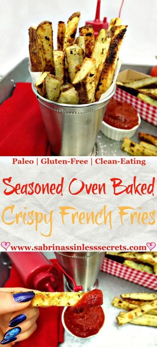 Crisp on the outside and fluffy on the inside defines these Seasoned Oven Baked Crispy French Fries. The light seasoning spruces up these traditional French fries, making them even more delectable with each crunchy bite! These fries use under two tablespoons of oil and are completely sinless! Who would've known oven baked Paleo and gluten-free French fries would be so much tastier than the ones drenched in deep fried oil?
