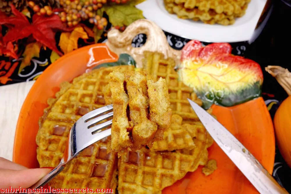 Closeup of waffles on fork