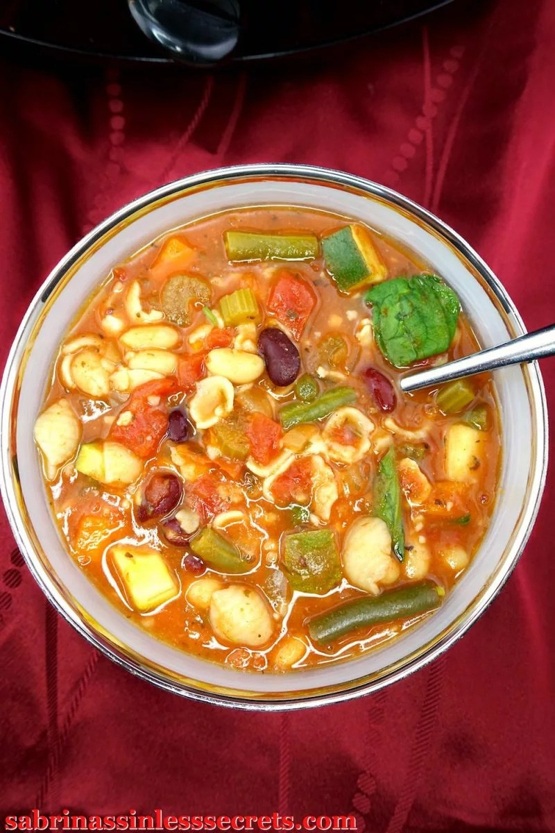 Comfort food wouldn't be complete without this Gluten-Free and Vegan Slow-Cooker Minestrone Soup! Each bite is filled with good for you ingredients, leaving you nourished and with a full, satisfied stomach. You won't miss the meat in this dish at all! This delicious soup is sure to become one of your favorites, especially because it's gluten-free, vegan, dairy-free, refined sugar-free, clean-eating, and easy!