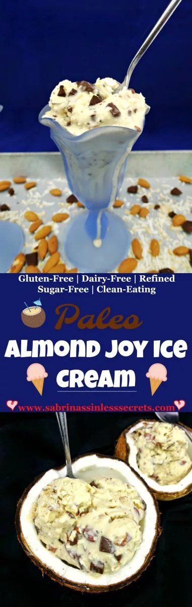 Smooth, creamy, and sweet this Paleo Almond Joy Ice Cream is just as irresistible as the candy bar! The flecks of coconut flakes and chunks of dark chocolate and chopped almonds are sure to make every bite that much more enjoyable! Believe it or not … this ice cream is Paleo, gluten-free, dairy-free, grain-free, refined sugar-free, and clean-eating!