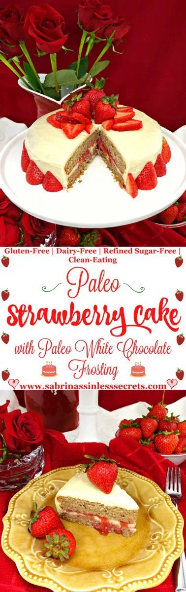 This moist, fluffy, and nicely sweet Paleo Strawberry Cake with Paleo White Chocolate Frosting will steal your taste buds' hearts! You no longer have to feel sinful about eating cake, because this cake is Paleo, gluten-free, dairy-free, refined sugar-free, clean-eating, and crazy delicious! No one will be able to tell it's healthy!