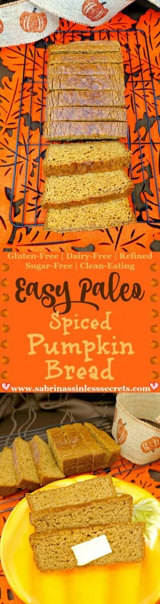 There's nothing like the smell of spiced pumpkin bread during fall time. This Easy Paleo Spiced Pumpkin Bead is a perfect addition to your baking list. Not only is it delicious, with a fluffy, moist texture, but it's also so easy to make! Being Paleo, gluten-free, grain-free, dairy-free, refined sugar-free, and clean-eating, you can relish it with ZERO guilt! Enjoy it as a snack, dessert, or with your morning coffee.