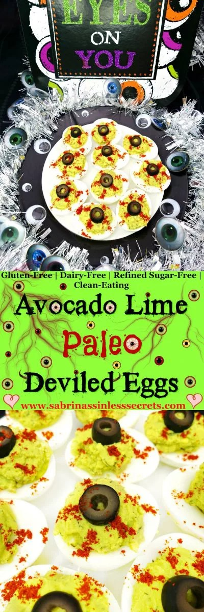For these deviled eggs, we're ditching the mayonnaise and replacing it with avocado for a smooth, creamy, nutritional punch! These tasty Avocado Lime Paleo Deviled Eggs are great for parties (especially Halloween) or for a snack! They're Paleo, gluten-free, dairy-free, refined sugar-free, quick and easy to make, and clean-eating!