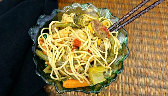 Gluten-Free Chicken and Steak Veggie Noodle Stir Fry