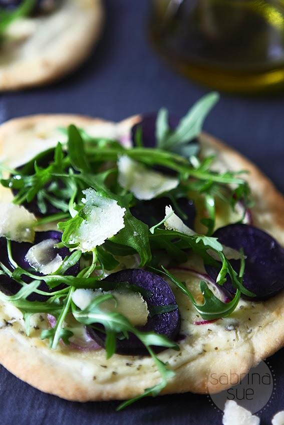 purple potato arugula pizza
