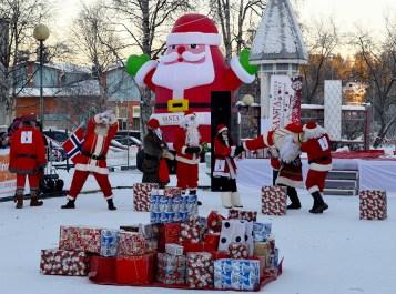 Santas goofing around