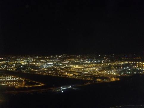 Barcelona at night from the plane