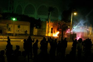 clashes outside the palace.