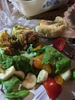 chicken casserole, fresh salad, and homemade rolls!!