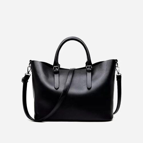 Sac à main bandoulière pour femme et sac cabas en cuir noir.