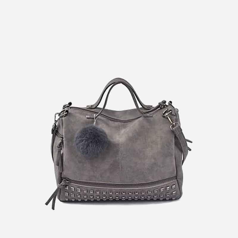Sac à bandoulière et sac à main en cuir nubuck gris pour femme avec poches zippées et poches intérieures. Bolishbag classic.