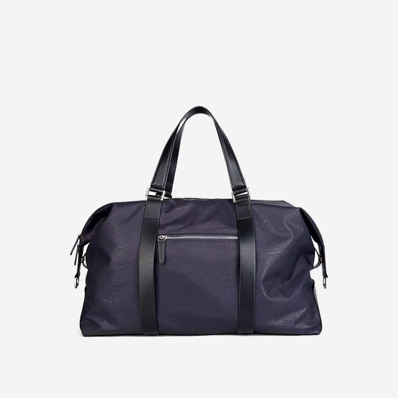 Sac à bandoulière et sacoche bleu nuit pour homme avec plusieurs poches zippées et poches intérieures. Bopaibag Design. Verso.
