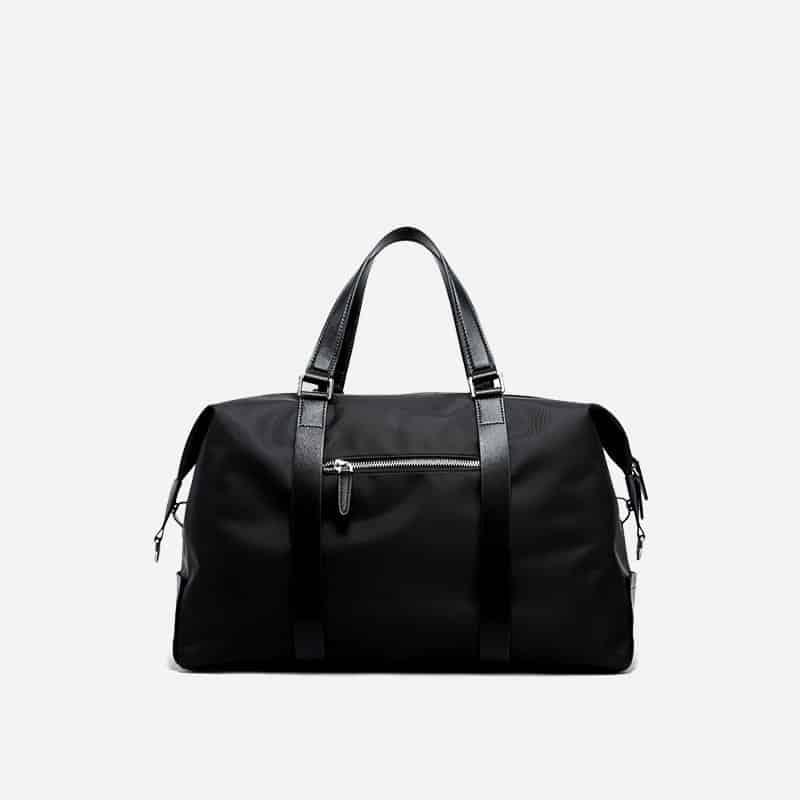 Sac à bandoulière et sacoche noir pour homme avec plusieurs poches zippées et poches intérieures. Bopaibag Design. Verso.