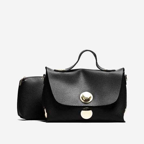Sac à main besace cuir noir pour femme avec bandoulière épaule amovible. Niubibag.