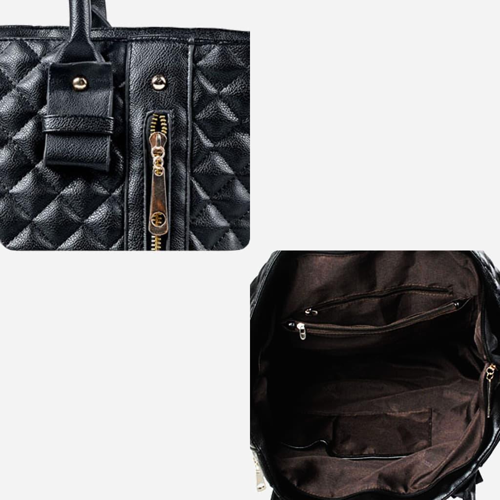 Détails cuir, bandoulière et intérieur du sac cabs : poches, soufflet, fermetures.