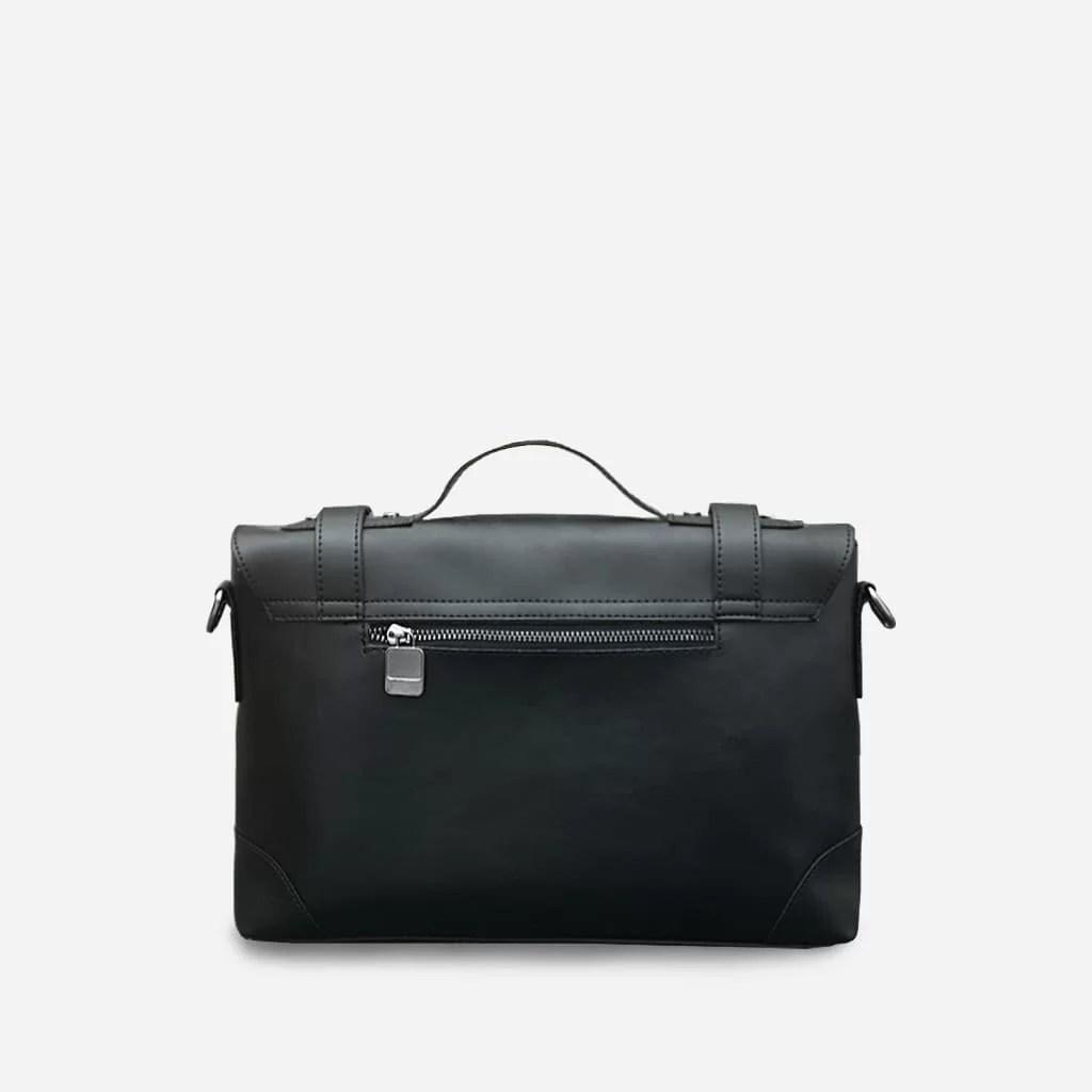 Verso de la sacoche besace bandoulière en cuir noir pour homme.