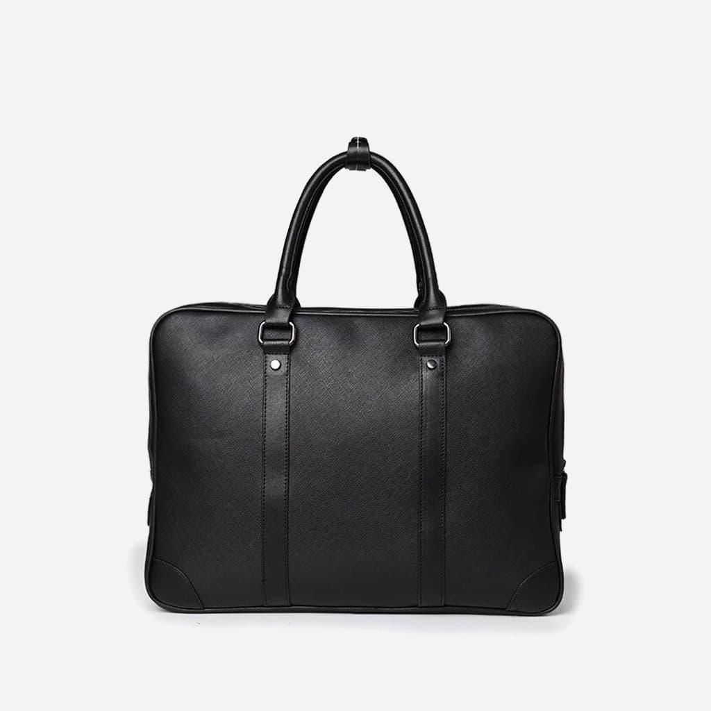 Verso de la sacoche porte-documents ordinateur pour homme en cuir noir saffiano.