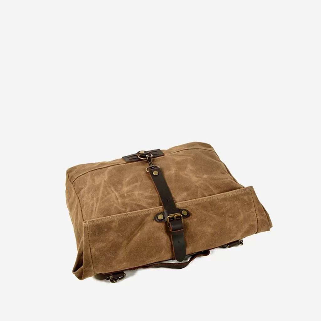 Dessus de sacoche besace en toile enduite et cuir véritable marron et brun pour homme