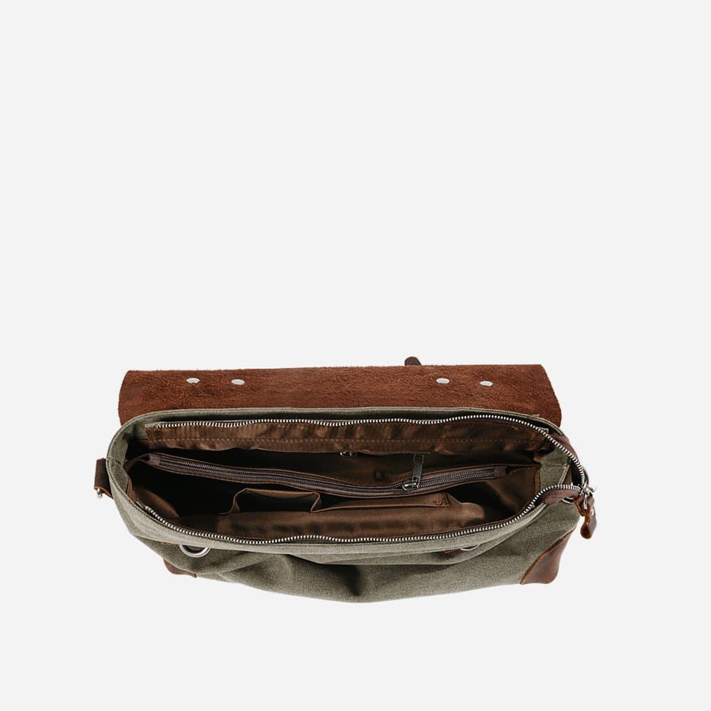 Intérieur de la sacoche besace toile et cuir.
