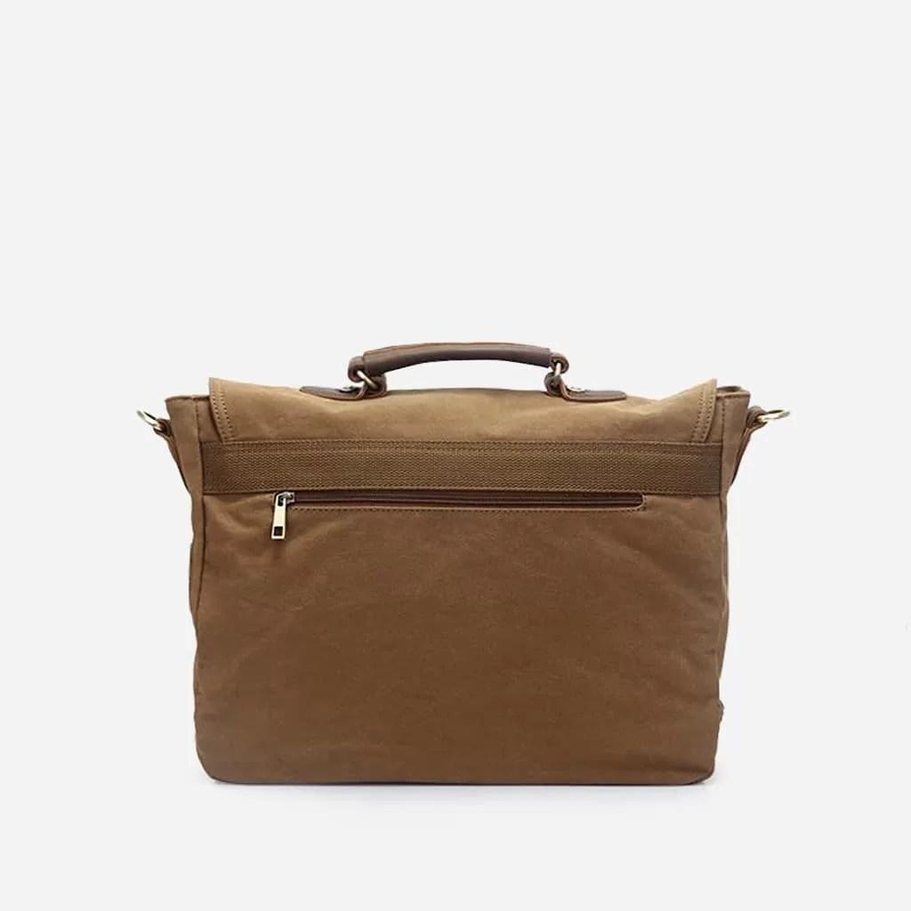Verso de la sacoche besace en toile et en cuir marron et brun pour homme.