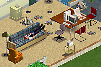The Sims, no work, garbage, Sims couch