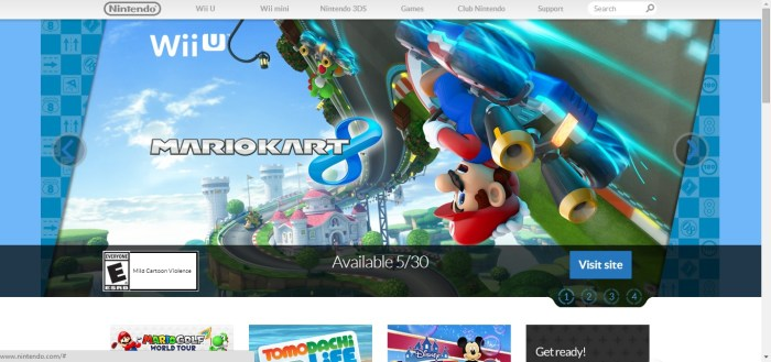 Step One: Visit Nintendo's official website at www.nintendo.com. You may have to select your region first. But once you see this screen, you can move to step two.
